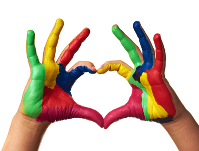 child hands painted  heart shape